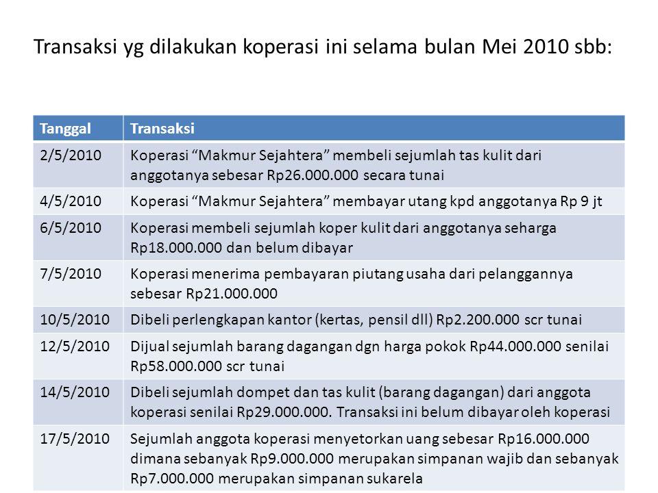 Transaksi yg dilakukan koperasi ini selama bulan Mei 2010 sbb: