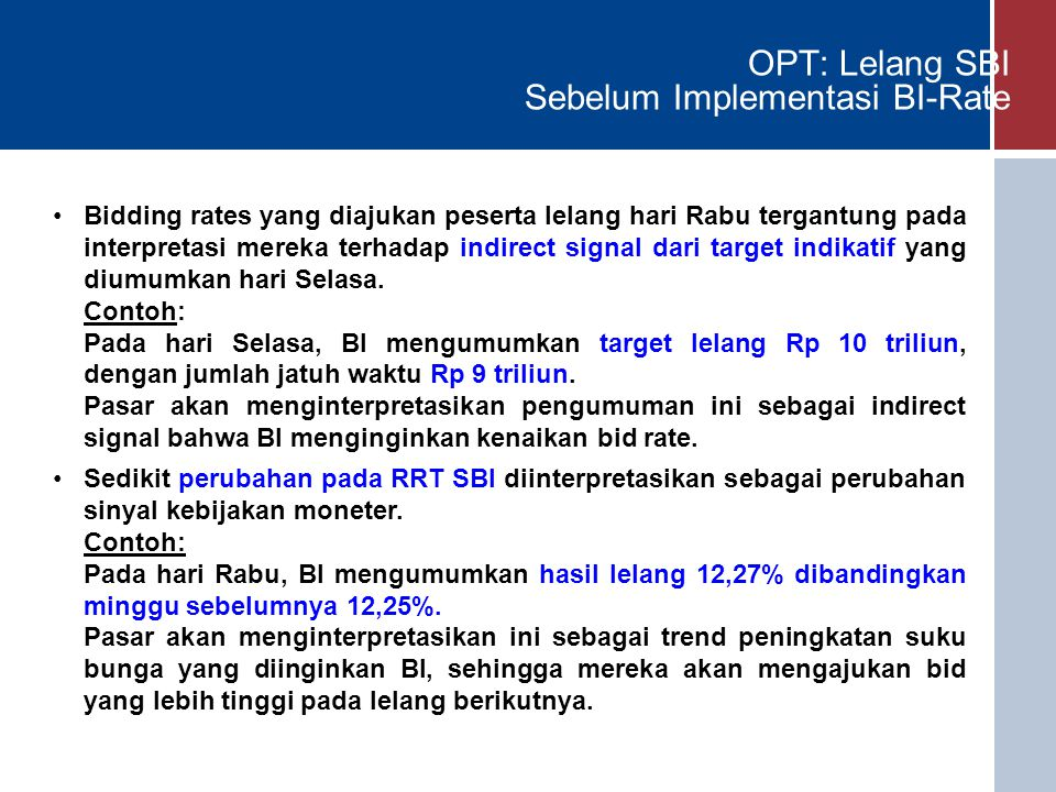OPT: Lelang SBI Sebelum Implementasi BI-Rate