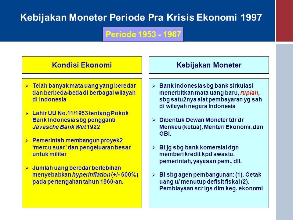 Kebijakan Moneter Periode Pra Krisis Ekonomi 1997