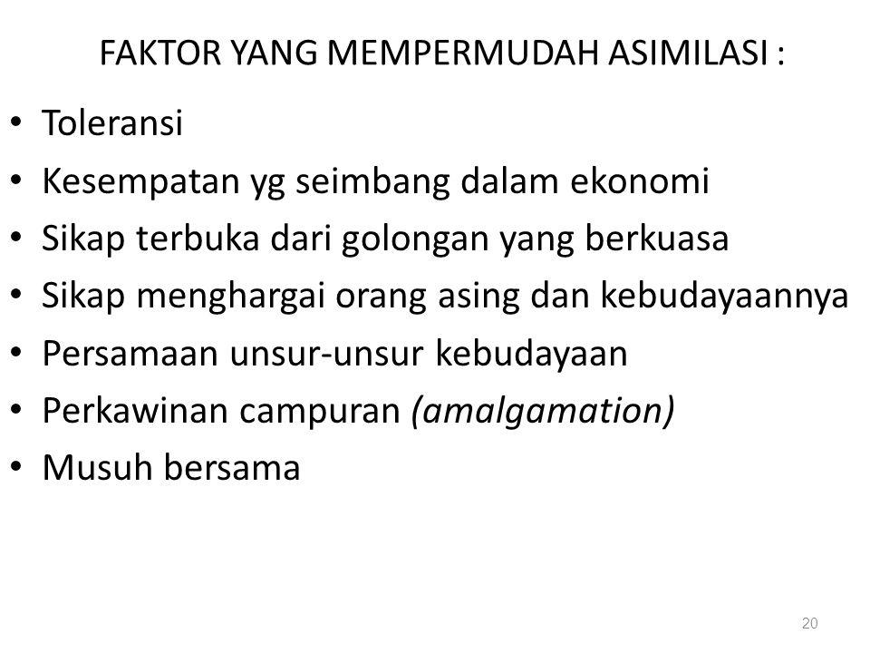 FAKTOR YANG MEMPERMUDAH ASIMILASI :