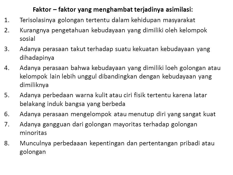 Faktor – faktor yang menghambat terjadinya asimilasi: