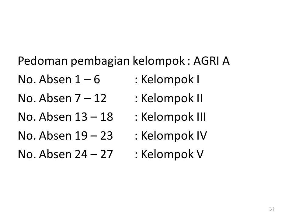 Pedoman pembagian kelompok : AGRI A No. Absen 1 – 6 : Kelompok I No