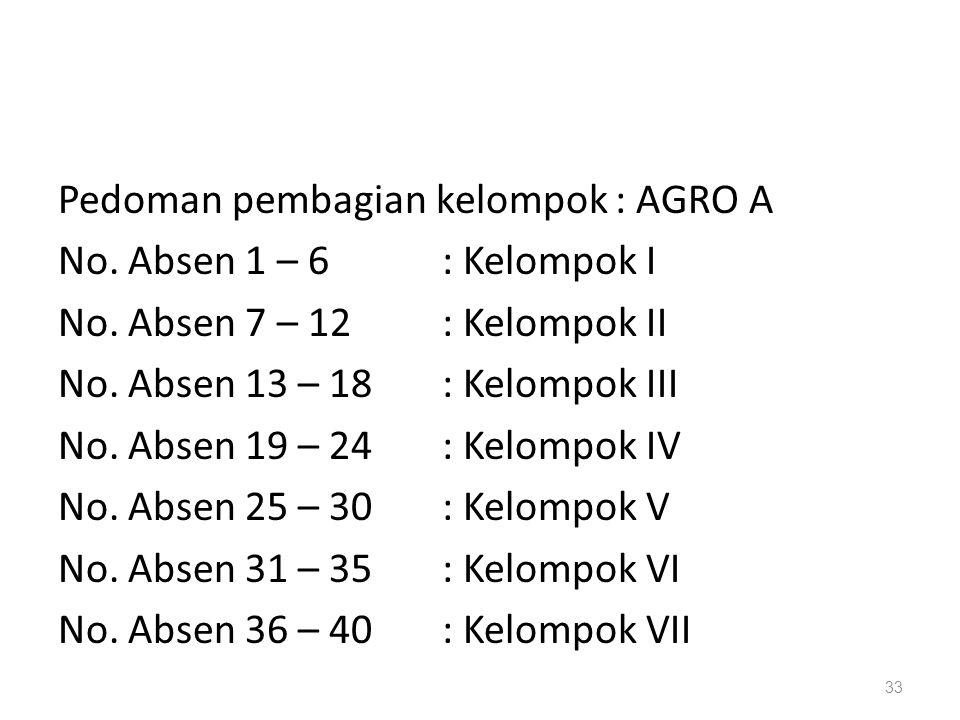 Pedoman pembagian kelompok : AGRO A No. Absen 1 – 6 : Kelompok I No