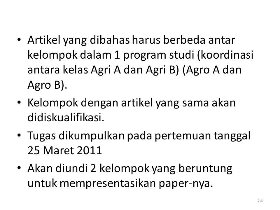 Artikel yang dibahas harus berbeda antar kelompok dalam 1 program studi (koordinasi antara kelas Agri A dan Agri B) (Agro A dan Agro B).