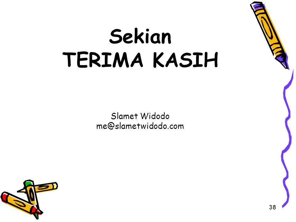 Sekian TERIMA KASIH Slamet Widodo me@slametwidodo.com