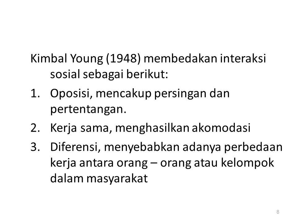 Kimbal Young (1948) membedakan interaksi sosial sebagai berikut:
