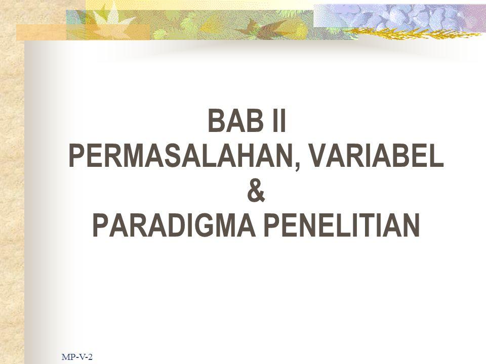 BAB II PERMASALAHAN, VARIABEL & PARADIGMA PENELITIAN