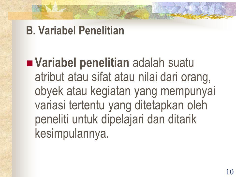 B. Variabel Penelitian