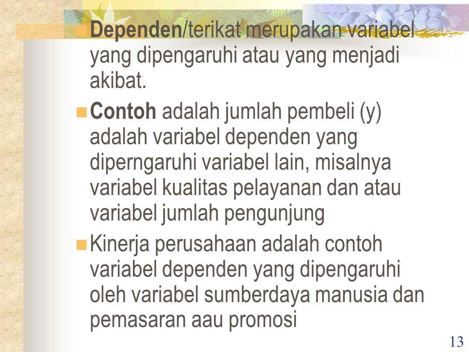 Dependen/terikat merupakan variabel yang dipengaruhi atau yang menjadi akibat.