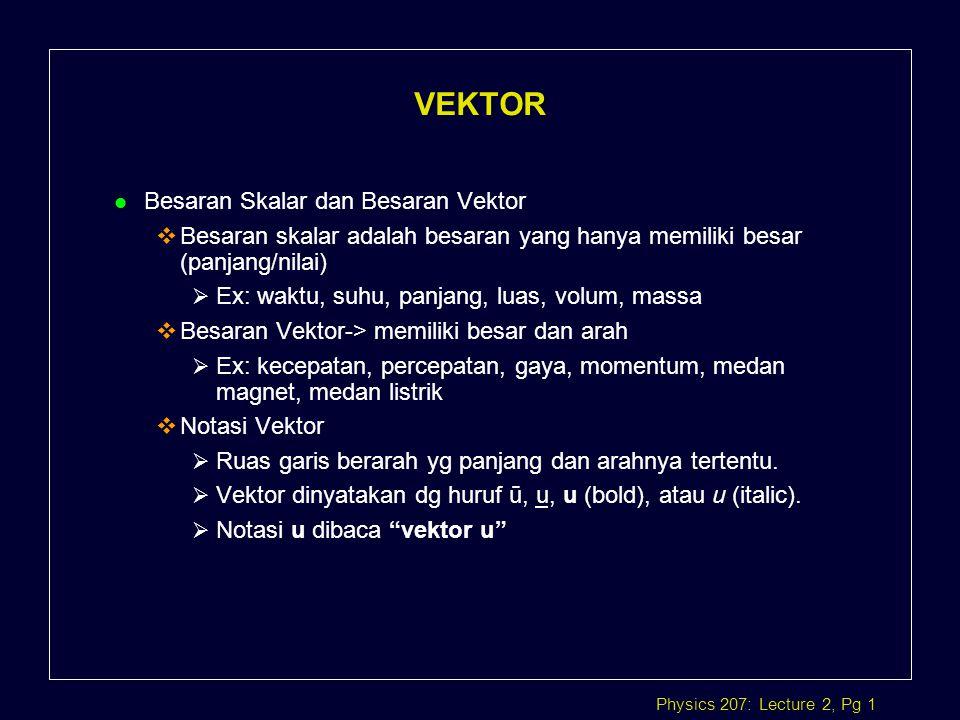 VEKTOR Besaran Skalar dan Besaran Vektor