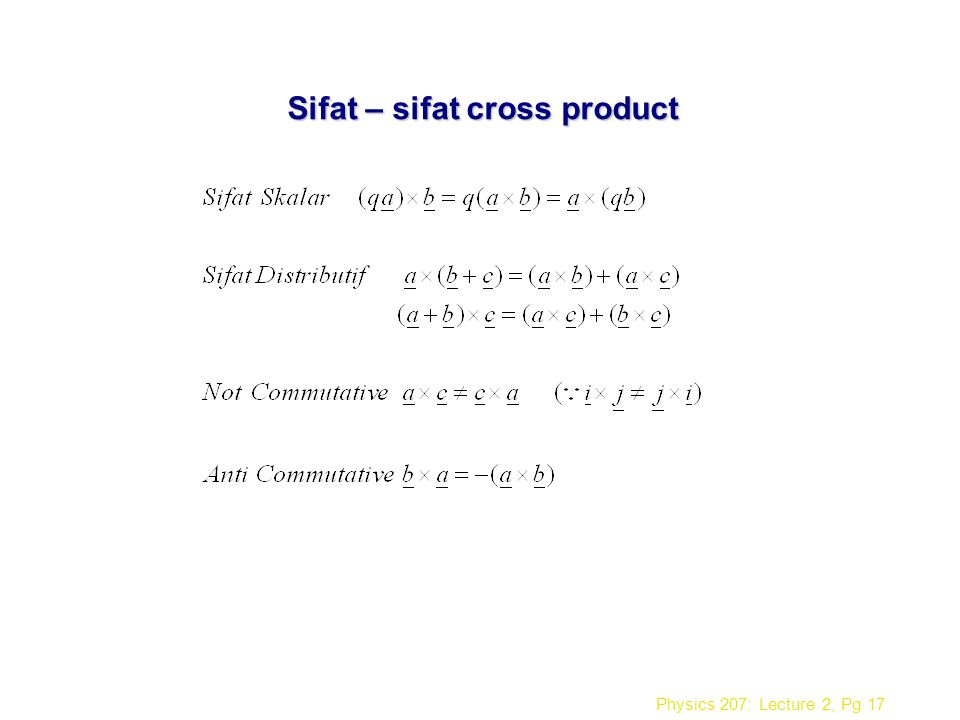 Sifat – sifat cross product