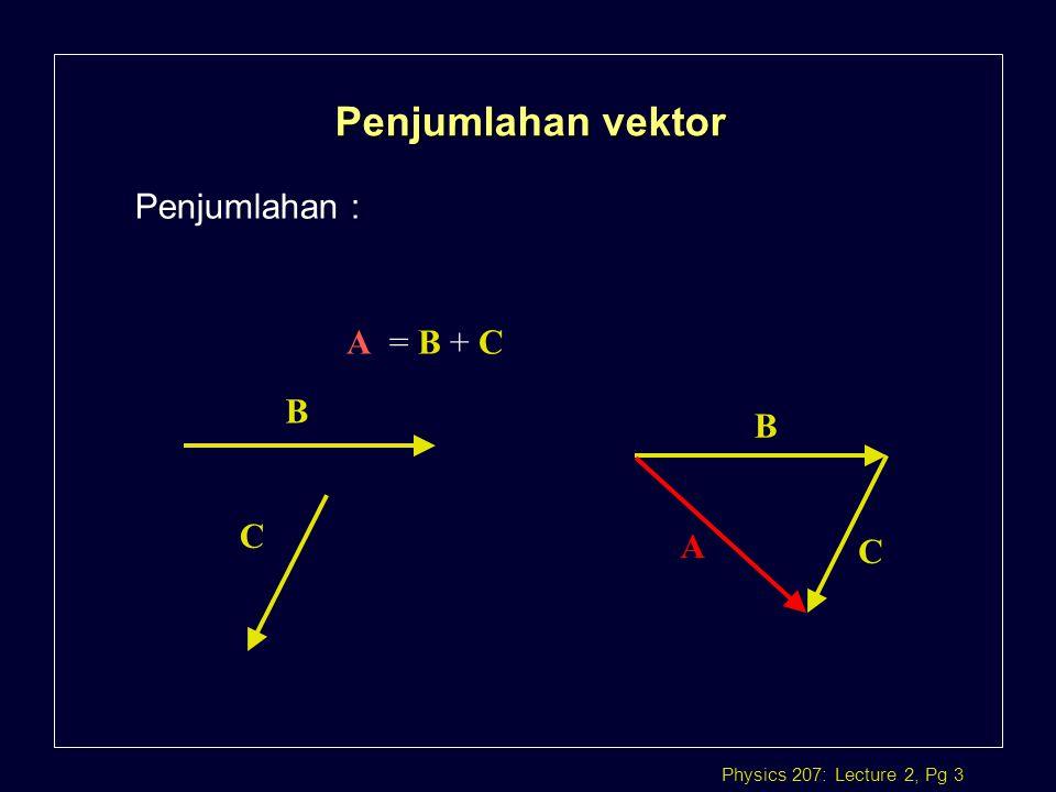 Penjumlahan vektor Penjumlahan : A = B + C B B C A C
