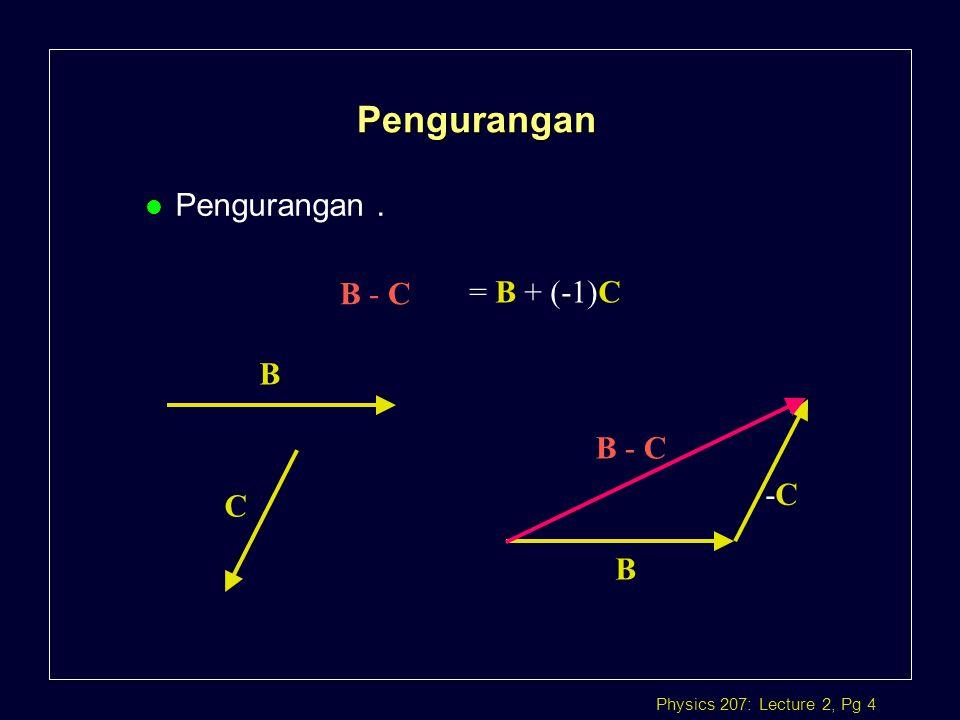 Pengurangan Pengurangan . B - C = B + (-1)C B C B -C B - C