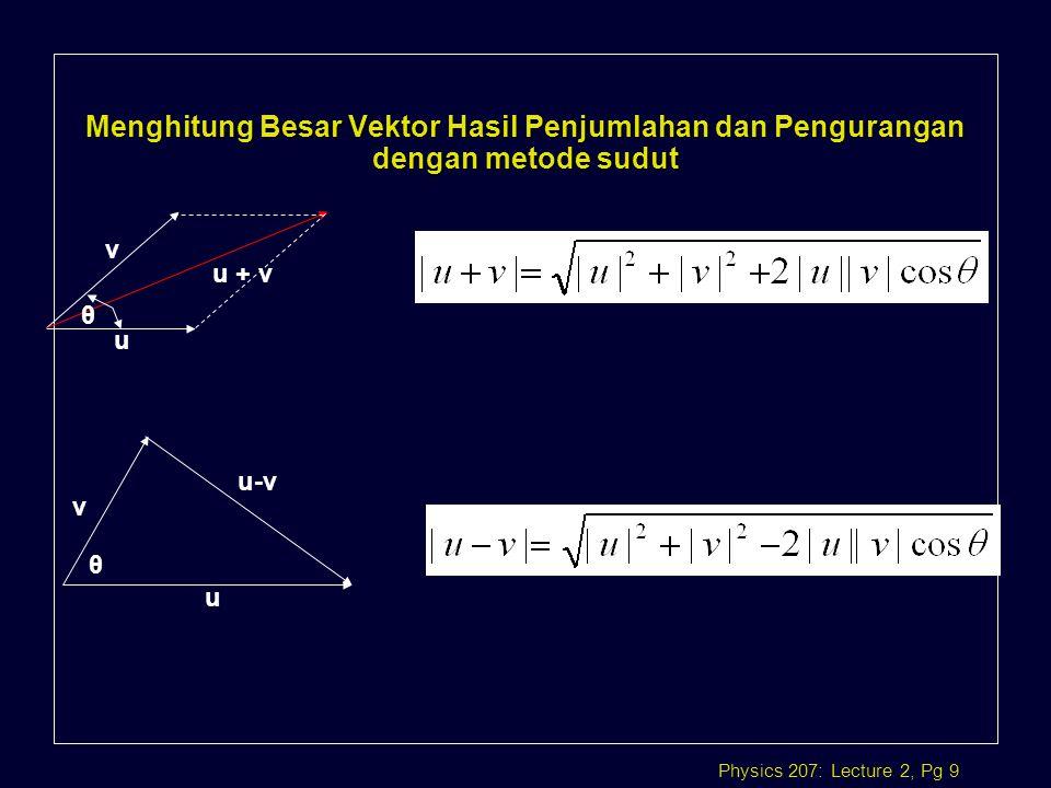 Menghitung Besar Vektor Hasil Penjumlahan dan Pengurangan dengan metode sudut