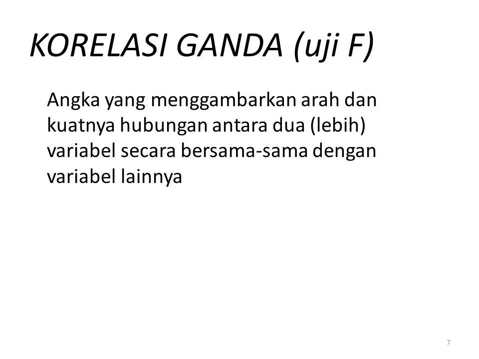KORELASI GANDA (uji F) Angka yang menggambarkan arah dan kuatnya hubungan antara dua (lebih) variabel secara bersama-sama dengan variabel lainnya.