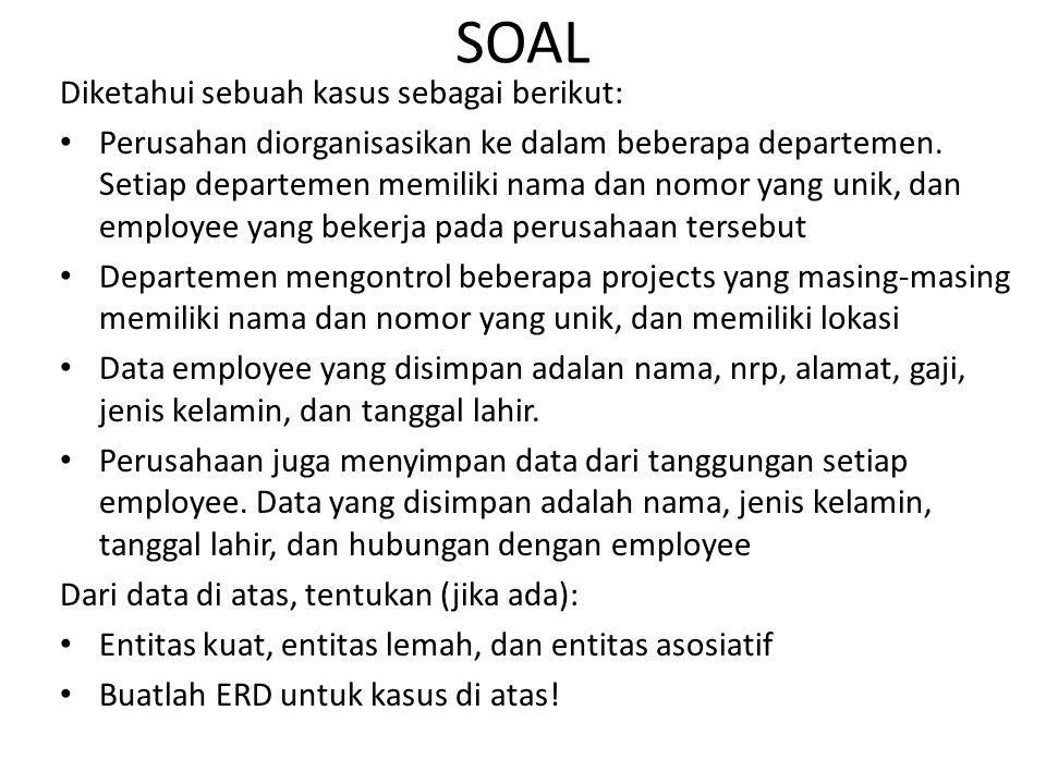 SOAL Diketahui sebuah kasus sebagai berikut: