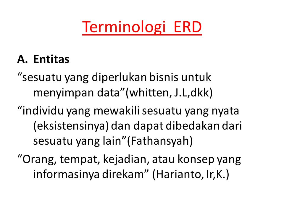 Terminologi ERD Entitas