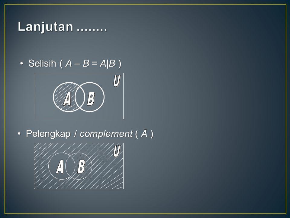 Lanjutan ........ Selisih ( A – B = A|B ) A B