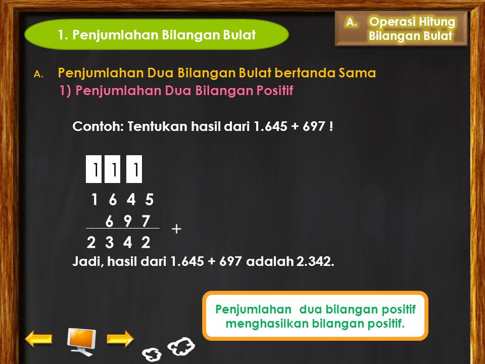 1 1 1 + 6 9 7 2 3 4 2 1. Penjumlahan Bilangan Bulat