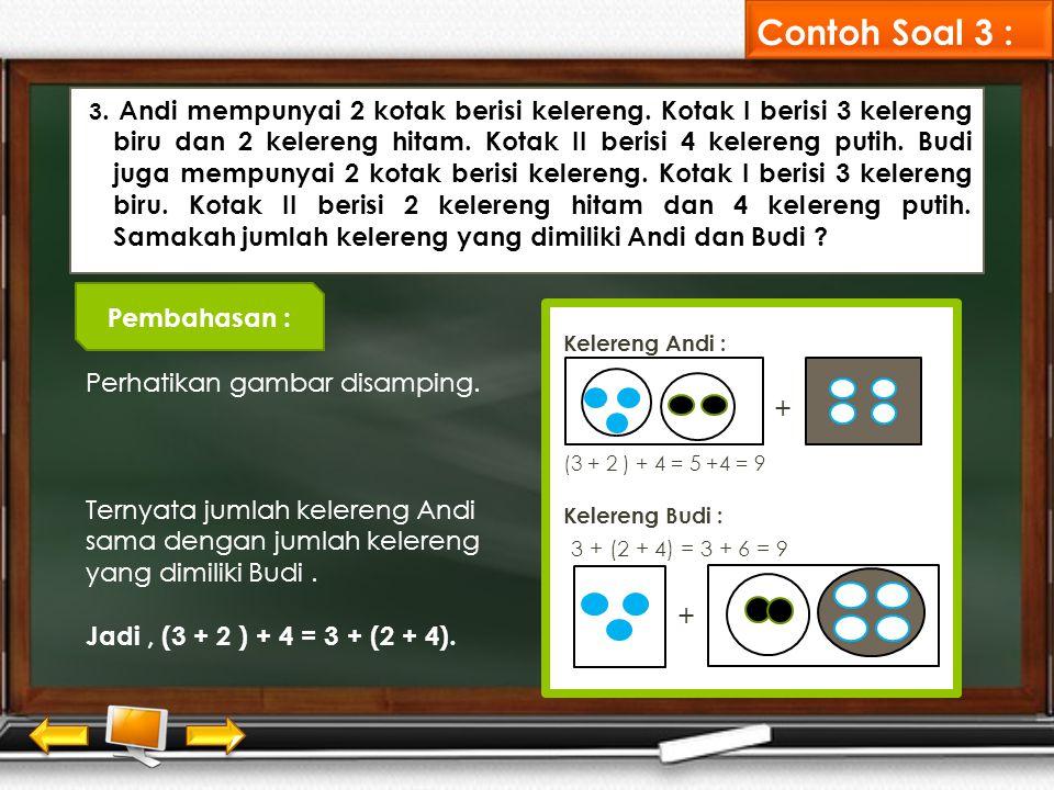Contoh Soal 3 : + 3 + (2 + 4) = 3 + 6 = 9 Pembahasan :