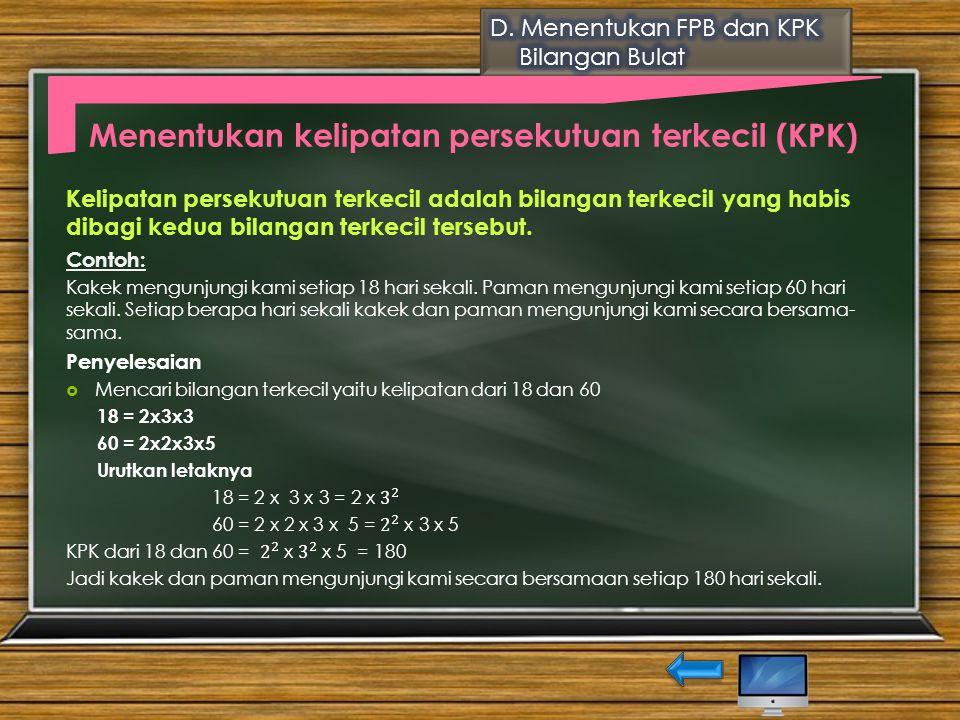 Menentukan kelipatan persekutuan terkecil (KPK)