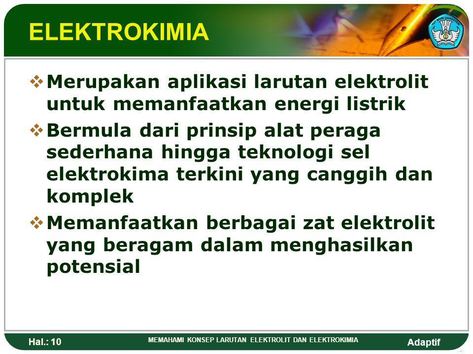 ELEKTROKIMIA Merupakan aplikasi larutan elektrolit untuk memanfaatkan energi listrik.
