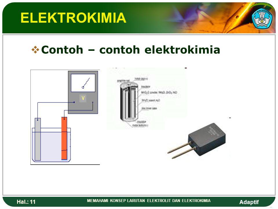 ELEKTROKIMIA Contoh – contoh elektrokimia Hal.: 11