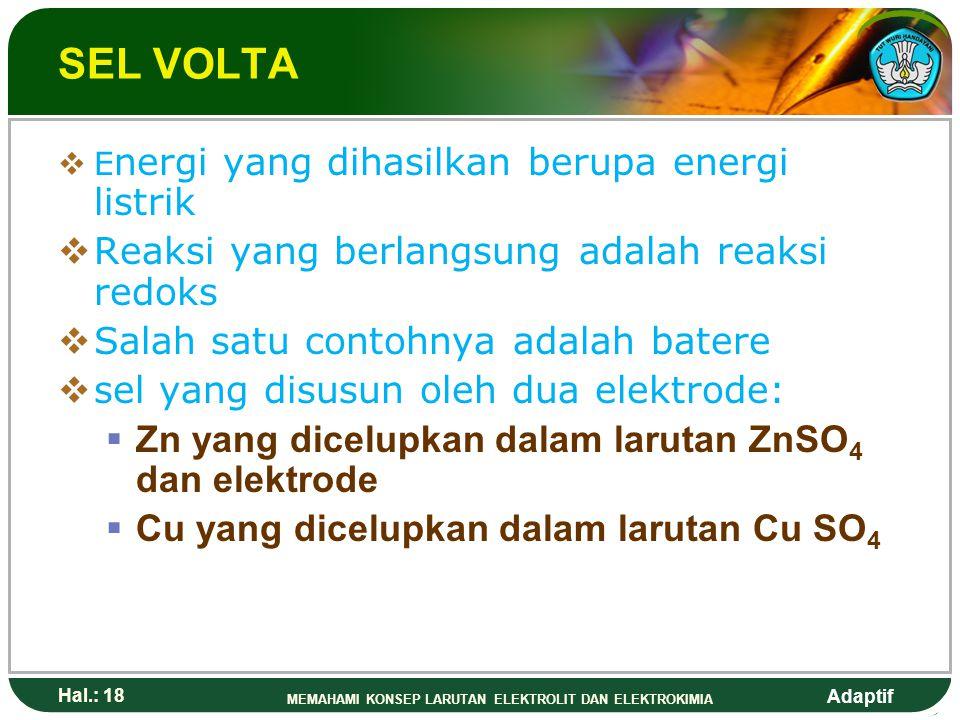 SEL VOLTA Reaksi yang berlangsung adalah reaksi redoks