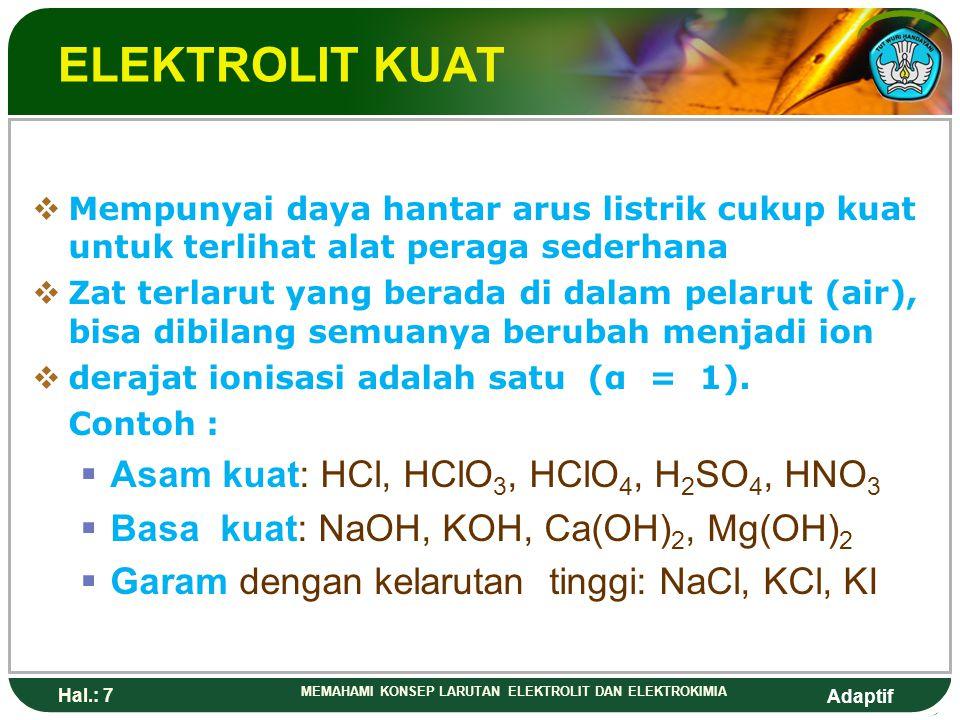 ELEKTROLIT KUAT Asam kuat: HCl, HClO3, HClO4, H2SO4, HNO3