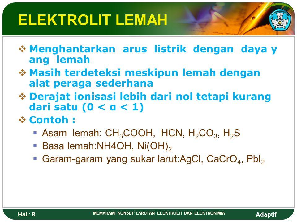 ELEKTROLIT LEMAH Menghantarkan arus listrik dengan daya yang lemah
