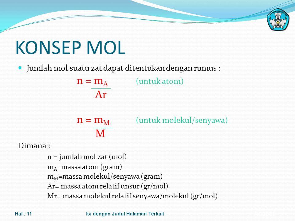KONSEP MOL Ar M Jumlah mol suatu zat dapat ditentukan dengan rumus :