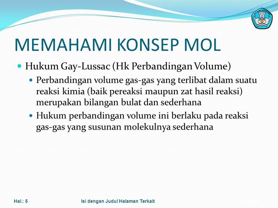 MEMAHAMI KONSEP MOL Hukum Gay-Lussac (Hk Perbandingan Volume)
