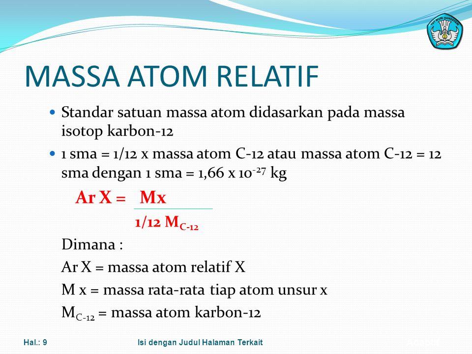 MASSA ATOM RELATIF Standar satuan massa atom didasarkan pada massa isotop karbon-12.