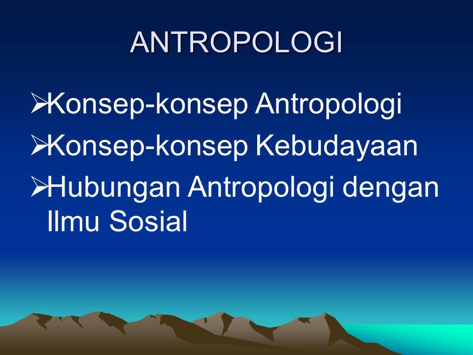 ANTROPOLOGI Konsep-konsep Antropologi. Konsep-konsep Kebudayaan.