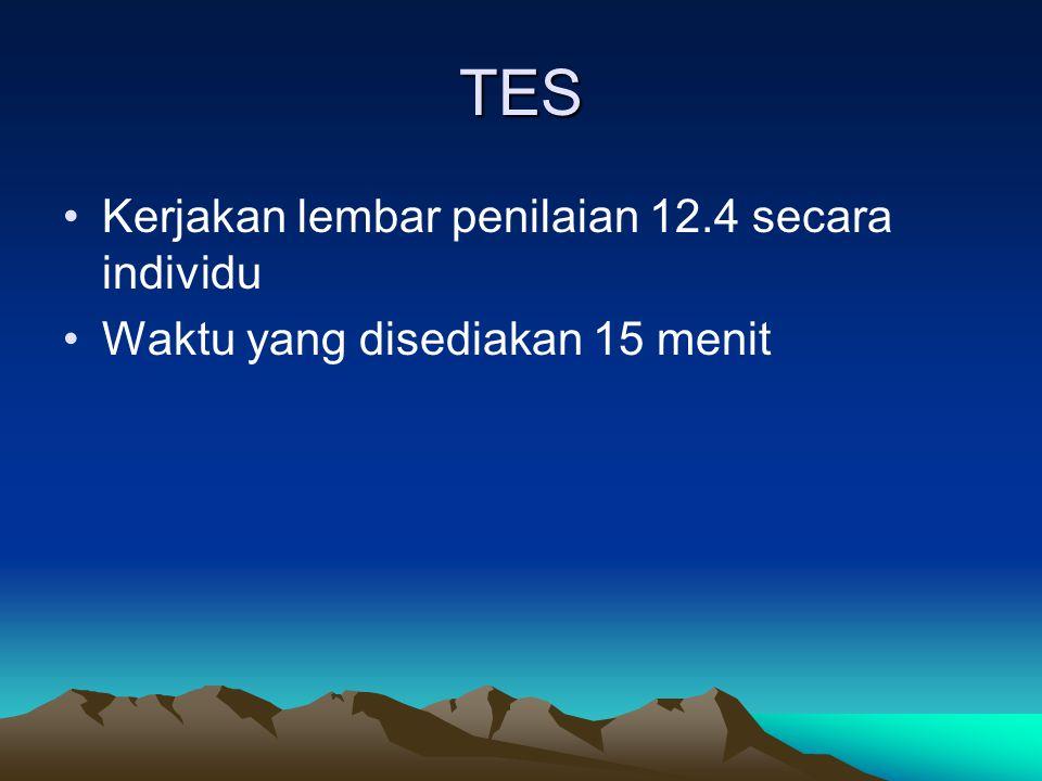 TES Kerjakan lembar penilaian 12.4 secara individu