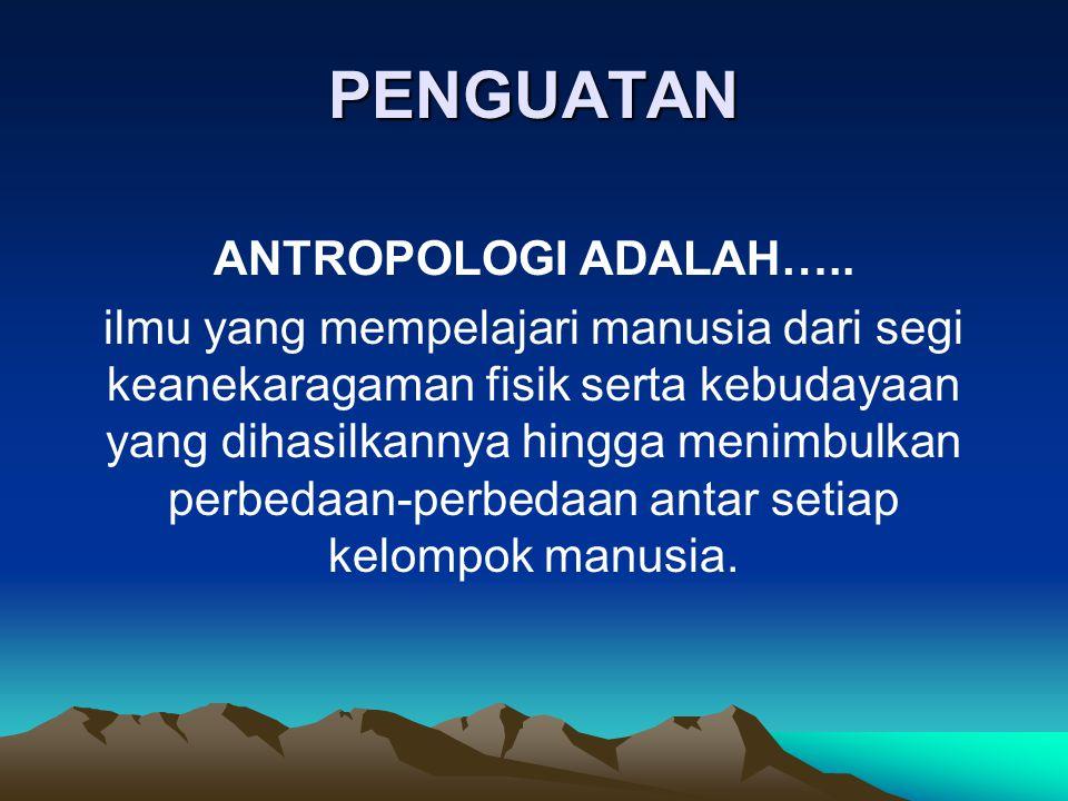PENGUATAN ANTROPOLOGI ADALAH…..