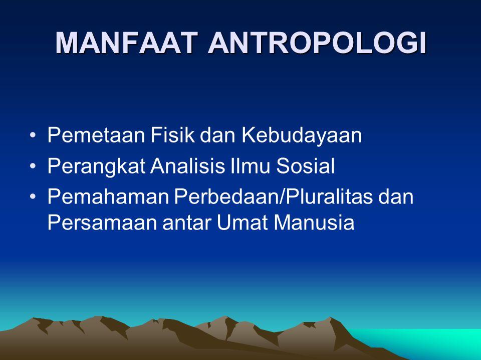 MANFAAT ANTROPOLOGI Pemetaan Fisik dan Kebudayaan