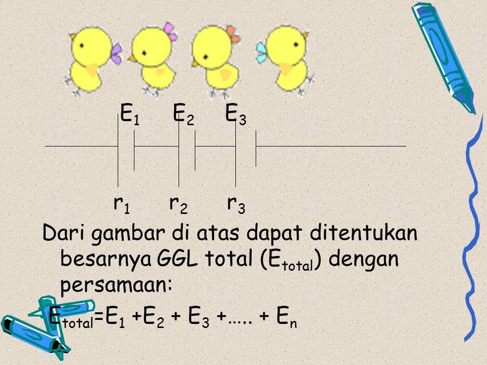 E1 E2 E3 r1 r2 r3. Dari gambar di atas dapat ditentukan besarnya GGL total (Etotal) dengan persamaan: