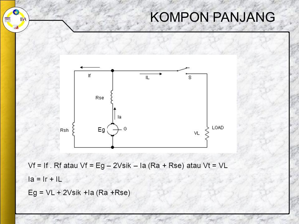 KOMPON PANJANG Eg. Vf = If . Rf atau Vf = Eg – 2Vsik – Ia (Ra + Rse) atau Vt = VL.