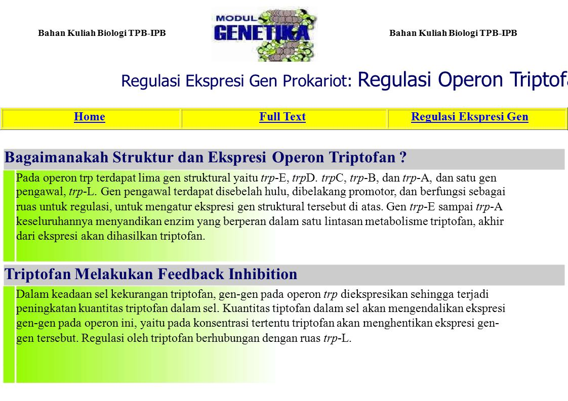 Regulasi Ekspresi Gen Prokariot: Regulasi Operon Triptofan