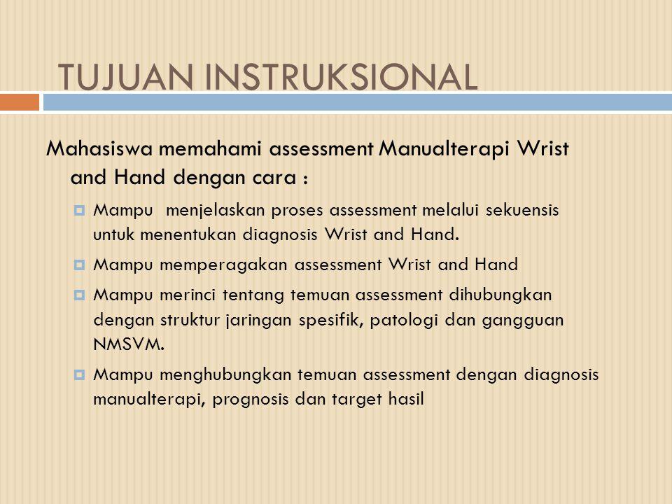 TUJUAN INSTRUKSIONAL Mahasiswa memahami assessment Manualterapi Wrist and Hand dengan cara :