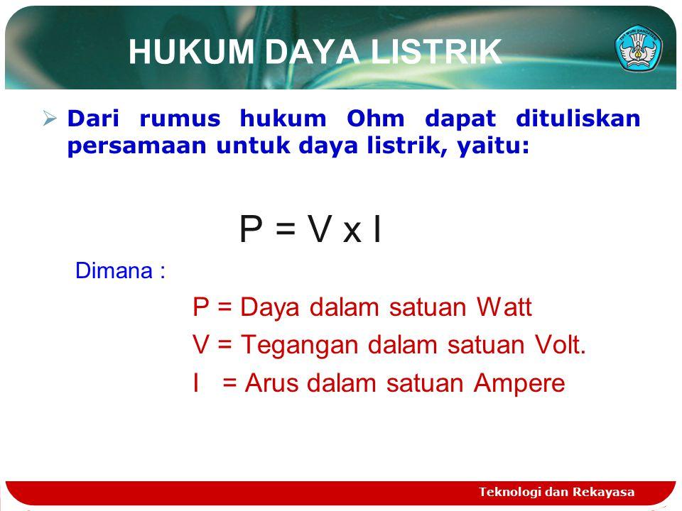 HUKUM DAYA LISTRIK P = V x I P = Daya dalam satuan Watt