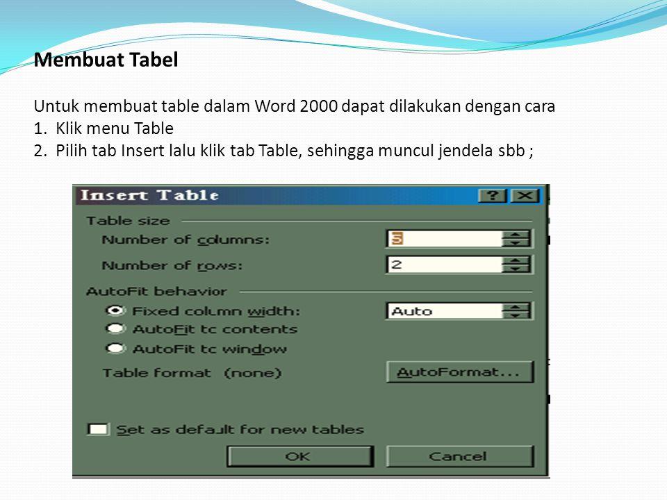 Membuat Tabel Untuk membuat table dalam Word 2000 dapat dilakukan dengan cara 1.