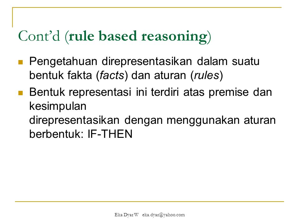 Cont'd (rule based reasoning)