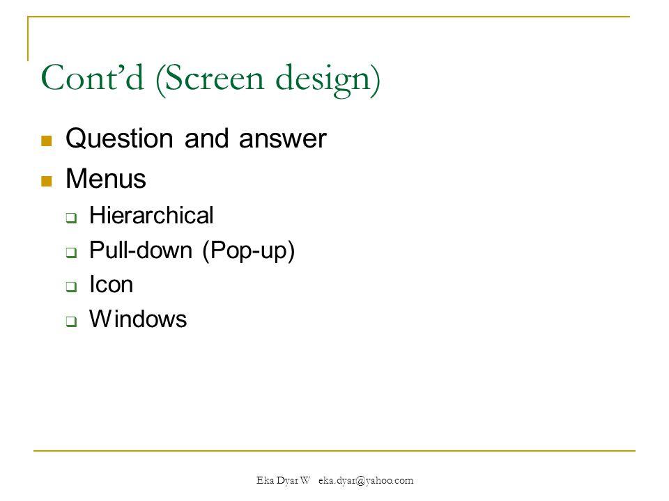 Cont'd (Screen design)