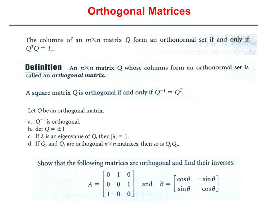 Orthogonal Matrices
