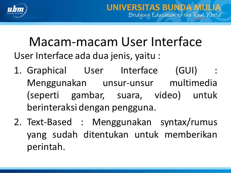 Macam-macam User Interface