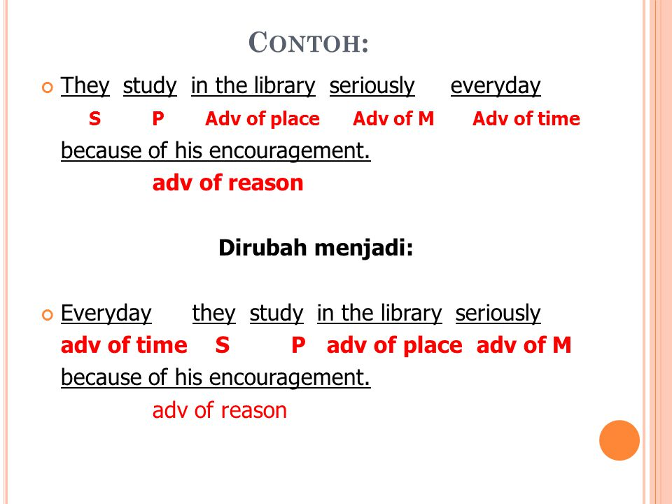 Contoh: They study in the library seriously everyday
