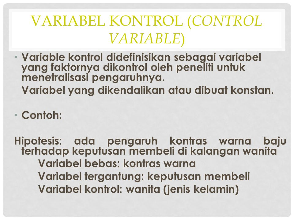 Variabel Kontrol (Control variable)
