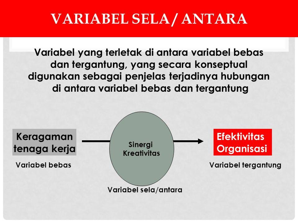 Variabel sela / antara Variabel yang terletak di antara variabel bebas